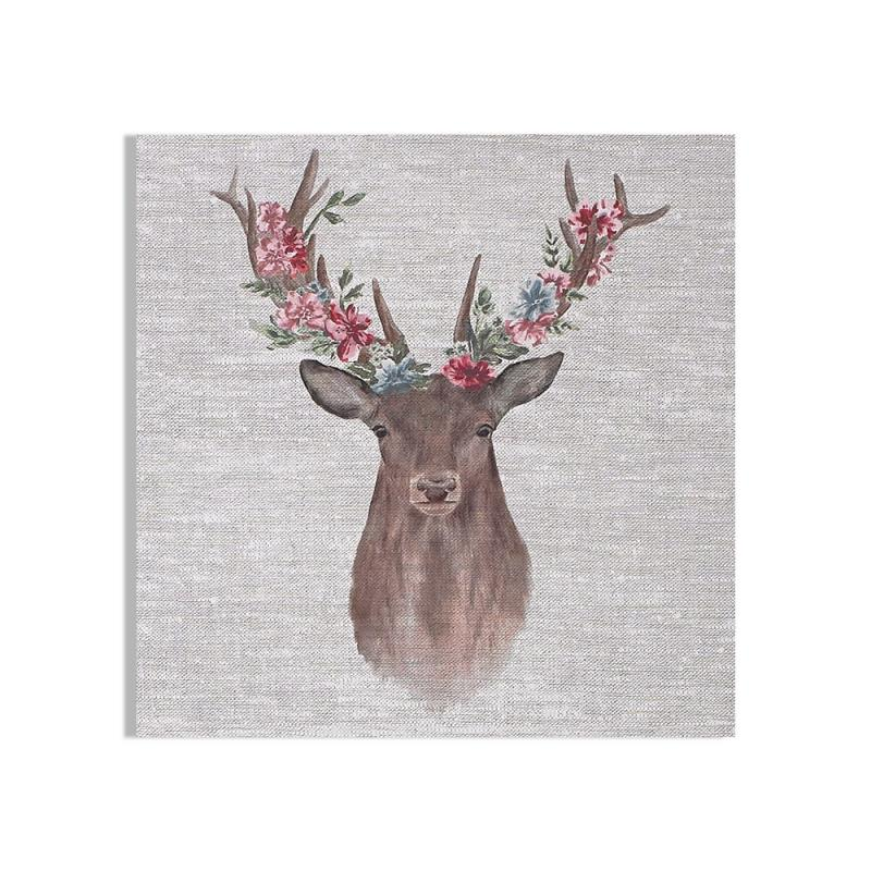 Frameless Malerei - Druck auf Leinwand - 105387, Watercolour Floral Stag, Graham & Brown