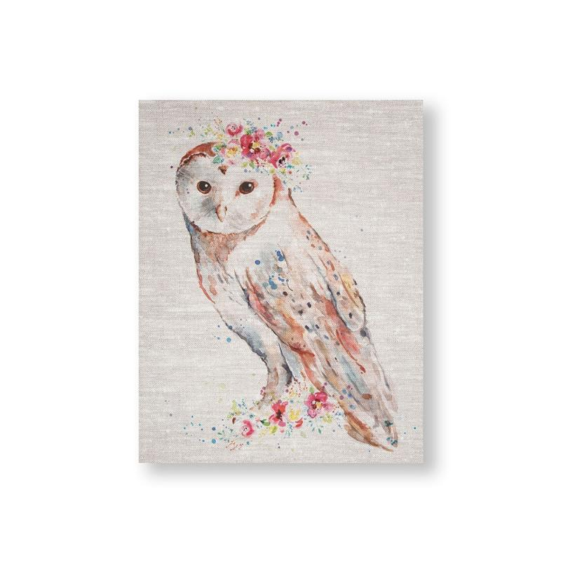 Frameless Malerei - Druck auf Leinwand - 105388, Watercolour Floral Owl, Graham & Brown