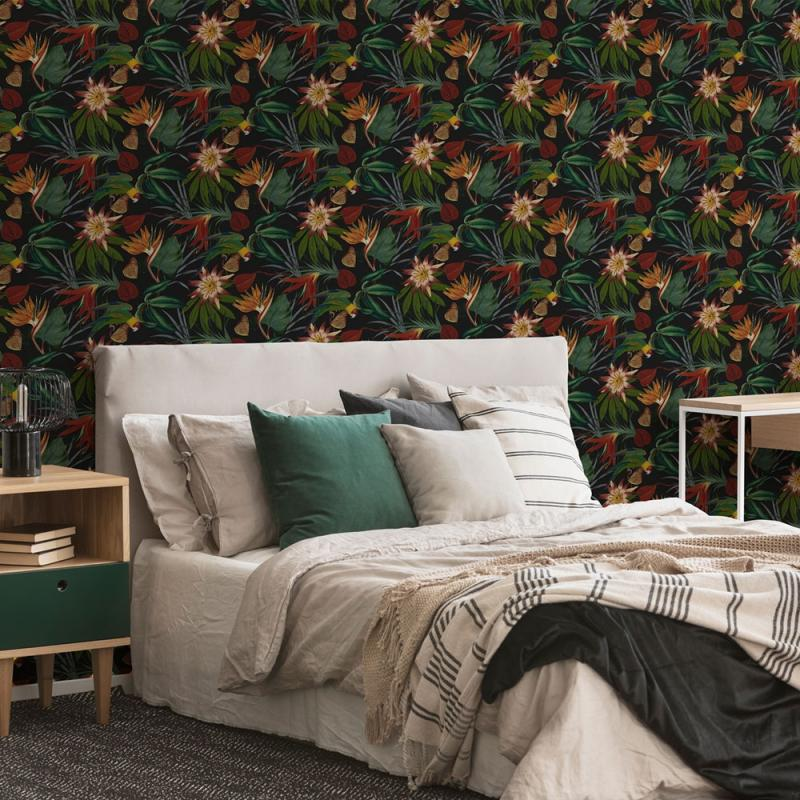Luxus Vliestapete - Luxury Vlies Wallpaper 108602, Parrot Black, Paradise, Graham & Brown