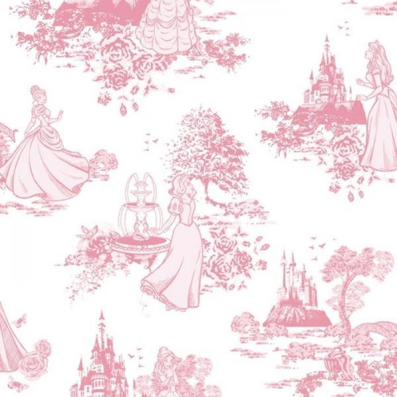 Kindertapete - Children's Wallpaper Disney Princesz 70-233, Princess Pink Toile